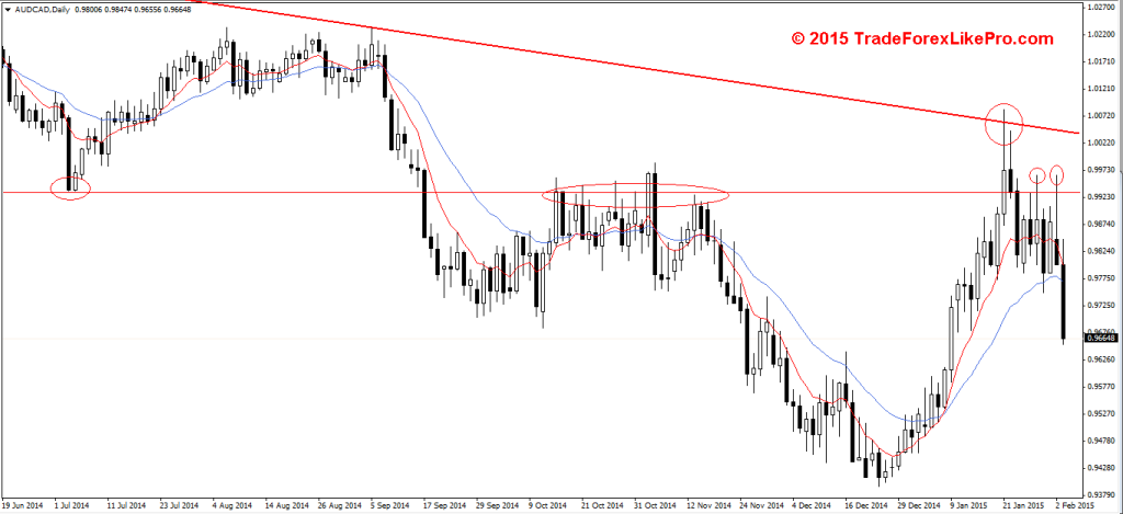 AUD/CAD - Daily chart after PIN bar