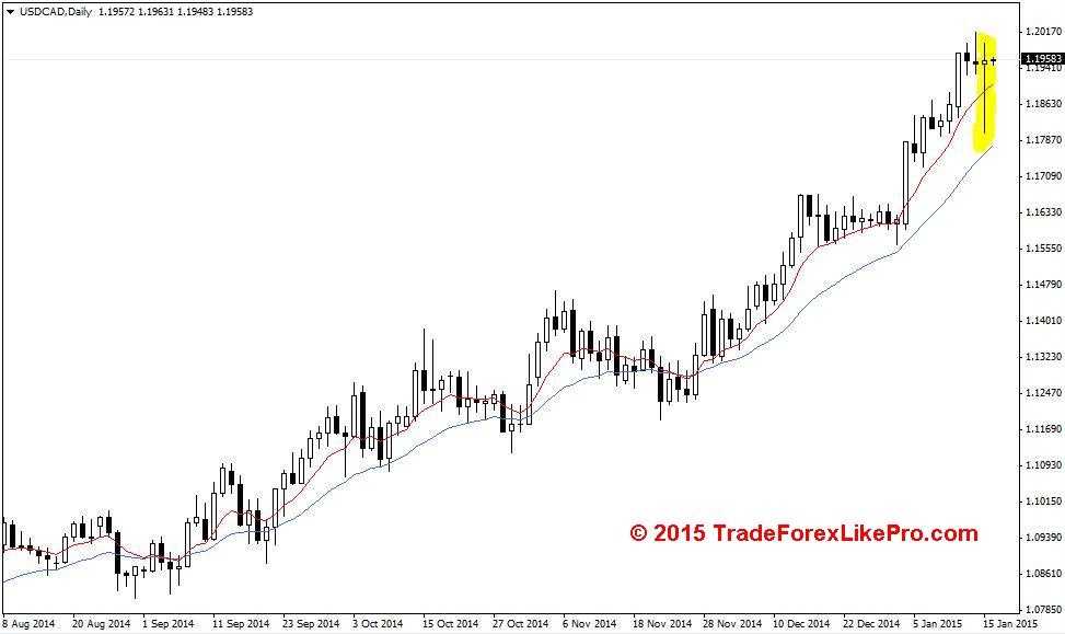 PIN bar on the USD/CAD Daily chart